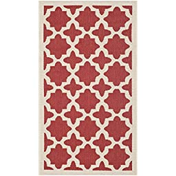 Safavieh Courtyard Collection CY6913-248 Red and Bone Indoor/ Outdoor Area Rug, 2 feet by 3 feet 7 inches (2\' x 3\'7\