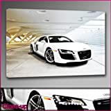Audi R8 White Framed Ready To Hang Canvas by whatsonyourwall, Cars Wall Art Sizes from 8