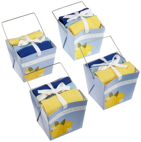 DII Le Limon Take-Out Gift Box with Kitchen Cloths Set, 4-Pack