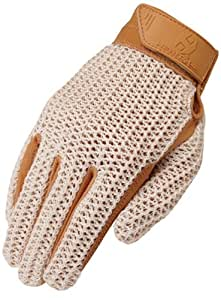 Heritage Crochet Riding Glove, Natural Tan, Size 3