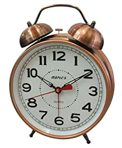Desk clock 8 inch white dial copper finish bell alarm glow in dark hands