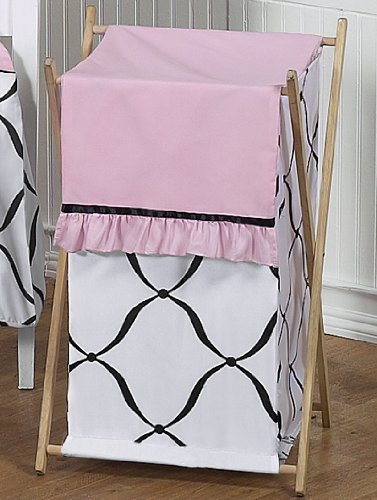 Baby/Kids Clothes Laundry Hamper For Sweet Jojo Designs For Pink, Black And White Princess Bedding front-236573