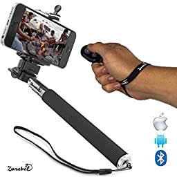 Zonabel Selfie Stick - Extendable Monopod with Bluetooth Remote - iPhone 6s, 6 Plus, 5s, Samsung S5 & Androids - Black