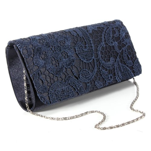 ... Satin Evening Handbag Party Purse Lace Clutch Bag Navy Blue Reviews