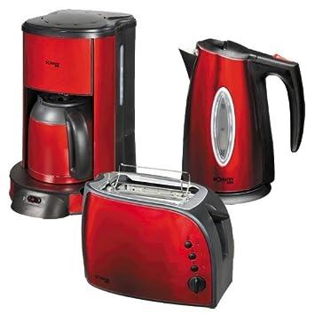 Bomann Frühstücks Set Kaffeemaschine Toaster Wasserkocher Metallic Rot