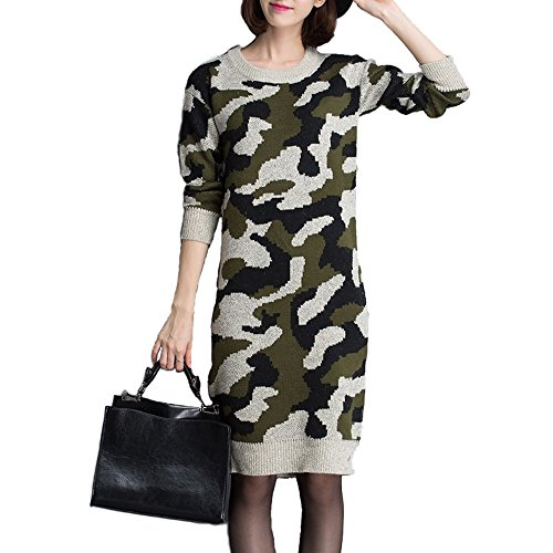 Choose from BALDR (Baldr) color with camouflage round neck knit dress (gray)
