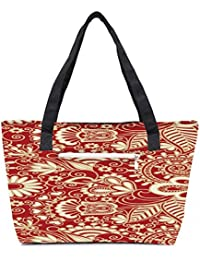 Pack Of 2 Floral Red And White Combo Tote Shopping Grocery Bag With Coin Pencil Purse