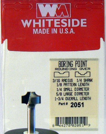 Whiteside Router Bits SA2100 O-Flute Straight Bit with Solid Carbide 1//4-Inch Cutting Diameter and 1-Inch Cutting Length