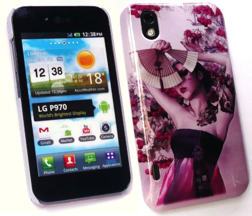 Emartbuy Lg Optimus Black / White P970 Geisha Girl Super Slim Clip On Protection Case / Cover / Skin