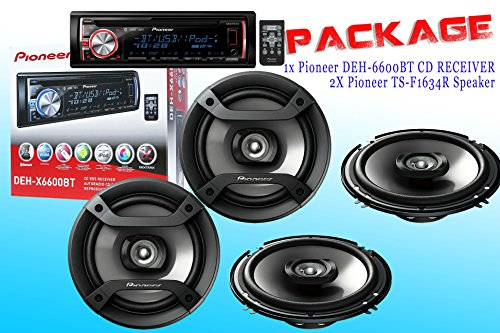 Package ! Pioneer Deh-X6600Bt Cd-Receiver + Two Sets Pioneer Ts-F1634R Car Speakers - 4 Speakers