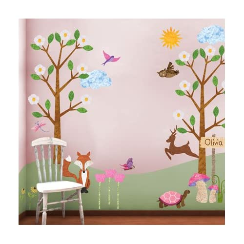 Forest Theme Wall Sticker Kit for Girls Room- Repositionable & Removable Wall Decals
