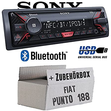 Fiat Punto 188 - Sony DSX-A400BT - Bluetooth MP3/USB Autoradio - Einbauset