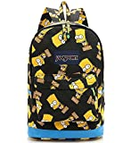 Preppy Style High Capacity Simpson Backpack Unisex Graffiti Shoulders Bag Students Canvas Bagpack (Black Simpson)