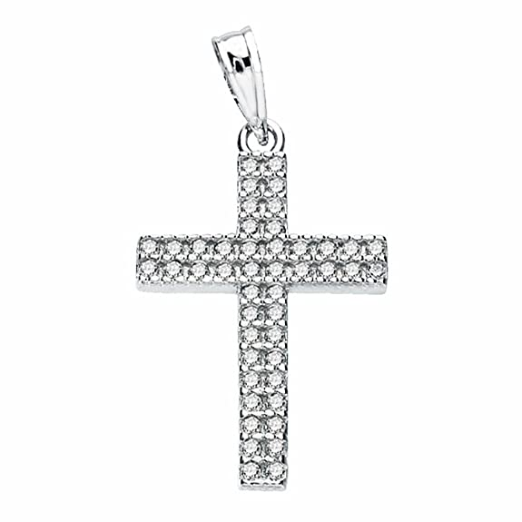 Cross 24mm 18k white gold cubic zirconia. [AA2022]