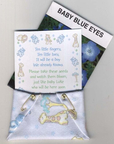 Set Of 4 Baby Shower Blue Animal Seed Packet Favors