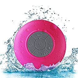 Wireless Stereo Shower Speakers, E LV Portable Waterproof Bluetooth Wireless Stereo Shower Speakers,Kid-friendly - Best for Bath, Pool, Car, Beach, Indoor/Outdoor Use - [RED]