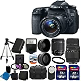 Canon EOS 70D 20.2 MP Digital SLR Camera with Dual Pixel CMOS AF and EF-S 18-55mm F3.5-5.6 IS STM with Sigma 70-300mm f 4-5.6 SLD DG Autofocus Macro Lens with built in motor +Spare LP-E6 Battery + 58mm 2x Professional Lens +High Definition 58mm Wide Angle Lens + Auto Flash + Uv Filter Kit withwith 24GB Complete Deluxe Accessory Bundle