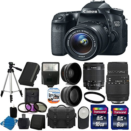 Canon Eos 70D 20.2 Mp Digital Slr Camera With Dual Pixel Cmos Af And Ef-S 18-55Mm F3.5-5.6 Is Stm With Sigma 70-300Mm F/4-5.6 Sld Dg Autofocus Macro Lens With Built In Motor +Spare Lp-E6 Battery + 58Mm 2X Professional Lens +High Definition 58Mm Wide Angle