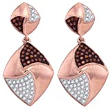 Diamond Drop Earrings Red Brown 10k Rose Gold