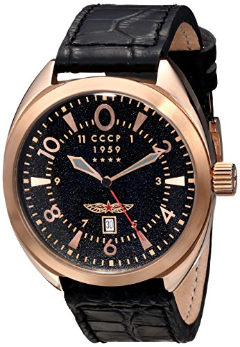 CCCP Men's CP-7014-02 Aviator YAK-15 Analog Display Swiss Quartz Black Watch
