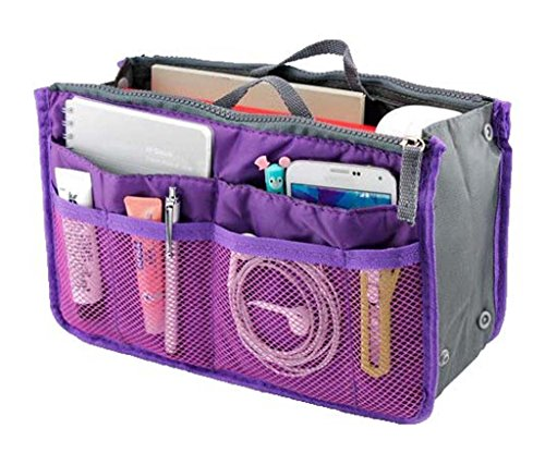 Lady Women Travel Insert Handbag Organiser Purse Large Liner Organizer Tidy Bag-Purple