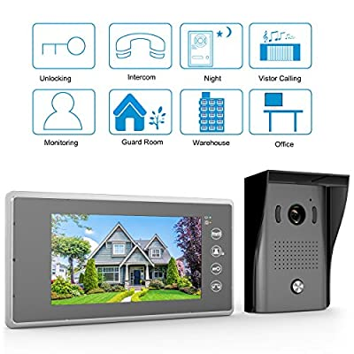1byone Video Doorphone 2-Wires Video Intercom System 7-Inch Color Indoor Monitor and HD camera Outdoor Video doorbell With 49ft Cable