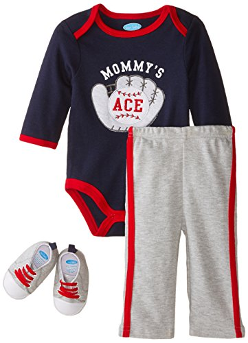 BON BEBE Baby-Boys Newborn Mommy's Baseball Ace Bodysuit Soft Sole Sneakers and Pant Set, Multi, 6-9 Months