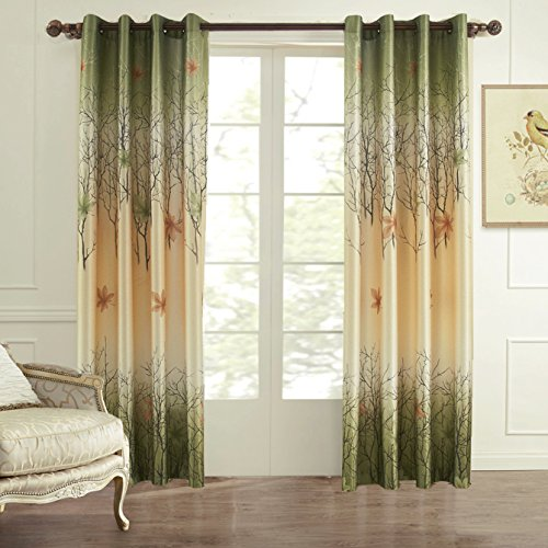 Koting 2 panels green and yellow maple tree lined window curtains drapes for bedroom living room for Lined valances for living room