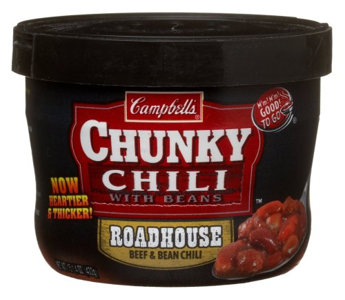 Campbell Chunky Roadhouse Beef & Bean Chili, 15.25-Ounce Microwavable Containers (Pack of 8)