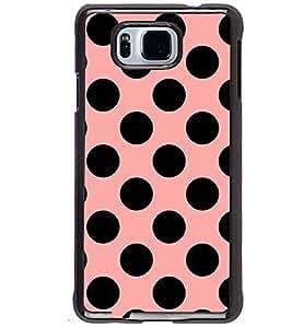Printvisa Pink And Black Plka Dot Pattern Back Case Cover for Samsung Galaxy Alpha G850