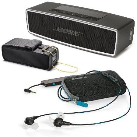 Bose QuietComfort 20 In-ear Noise Cancelling Headphones for Apple Devices, Black w/ SoundLink Mini II Carbon & Travel Bag - Bundle
