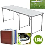 Popamazing 1.8m/6ft Aluminum Portable Folding Camping Picnic Party Dining Table - 180cm x 60cm(L & W) - with Adjustable Legs (White)