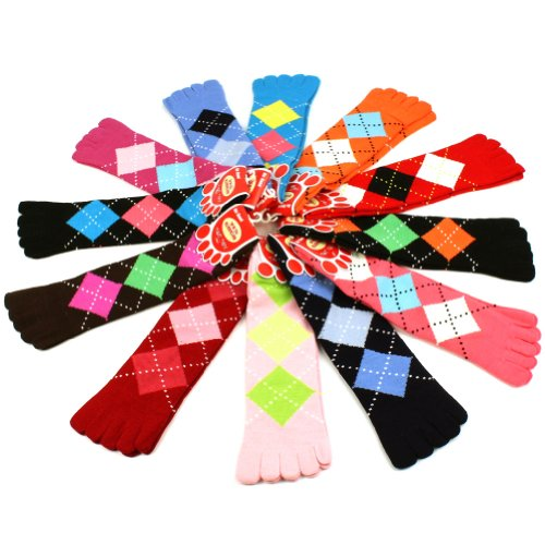 Ladies Cute Warm Toe Socks 12 Pairs Argyle Plaid Crew Ladies Mid Calf Pack Set