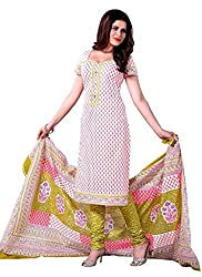 PADMiNi Ethnicwear Women's Dress Material White Free Size