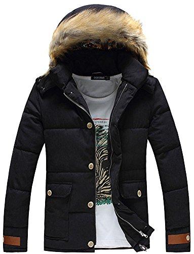 Fiream Herren Winter Solide Baumwolle Große Größen Abnehmbarer Deckel Warm Mit Kapuze Daunenjacken(Schwarz,EUR M)