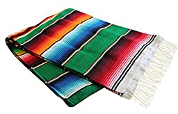 Del Mex (TM) X-large Mexican Serape Blanket Sarape Green