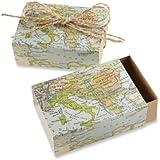 "Kate Aspen ""Around the World"" Map Favor Box, Set of 24"