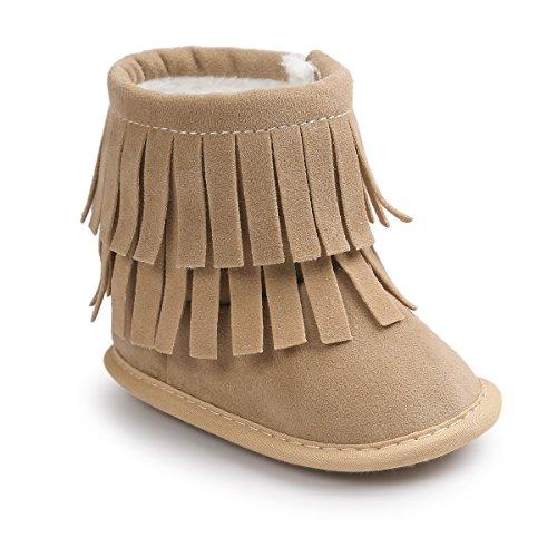 Kuner Infant Baby Girls Boys Tassel Plush Moccasins Non-slip Prewalker Outdoor Warm Snow Boots 0-18Months (12cm(6-12months), Beige)
