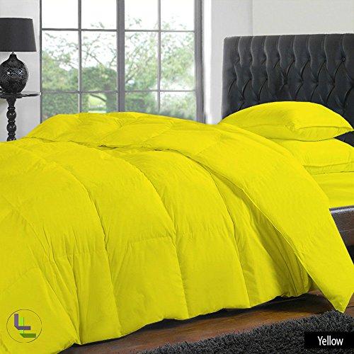 """300TC 100% cotone egiziano, finitura elegante Set copripiumino e lenzuolo con angoli, 4 con tasca, dimensioni: 71,12 (28"""") cm), Cotone, Yellow Solid, Euro_Super_King_Extra_Long"""