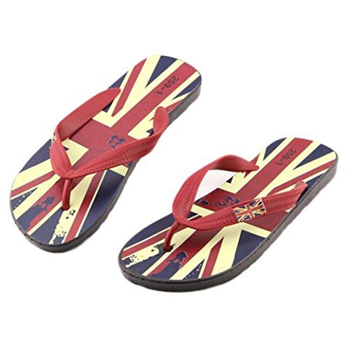 Sandali ,Ouneed® Donna Sexy Girls Estate Scarpe sandali punta della clip sandali della spiaggia Dei Sandali Pantofole Boemia Fiore Tallone Scarpe Flip Flop (Rosso, 41)
