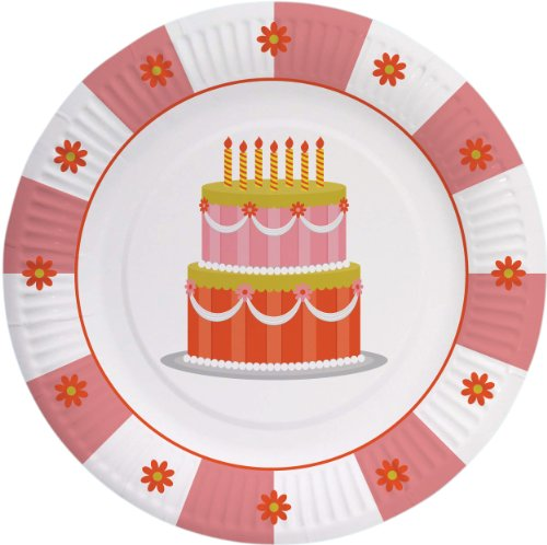 "Party Partners Design Retro Sweet Soiree Themed 8"" Round Paper Plates, Pink/Orange, 8 Count"