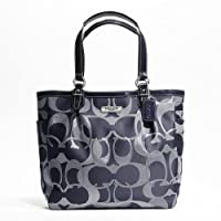 Coach Gallery Optic Metallic Signature North South Tote 19675 Navy Bluesilver