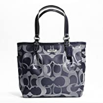 Hot Sale COACH Gallery Optic Metallic Signature North South Tote 19675 Navy Blue/Silver