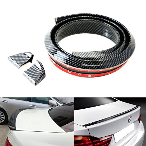 iJDMTOY (1) Universal PU Trunk or Roof Lip Spoiler or Roof Spoiler Body Kit Trim Sticker, 4.5ft (145cm/1.4m), Carbon Fiber Pattern (Mitsubishi Galant Roof Trim compare prices)