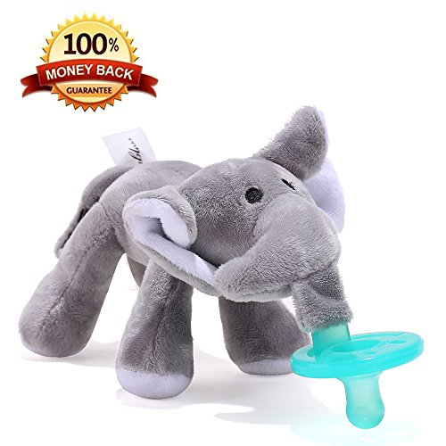 Tinabless Infant Pacifier Elephant Holder-Plush Soft Toy-Funny Animal Soother-Orthodontic Dummy Silicone Teether with Clip Perfect Baby Shower Unisex Gift for Newborn Boys and Girls (Personalized Newborn Girl compare prices)