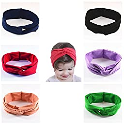 Onshine 6pcs Baby Headbands Cross Knotted Headwrap Soft Hair Elastics Turban