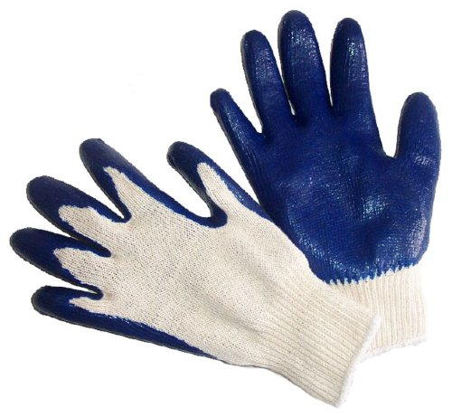 G & F 3108-300 String Knit Palm Latex Dipped Gloves in Econmical Grade, Blue, Large, 300-Pair