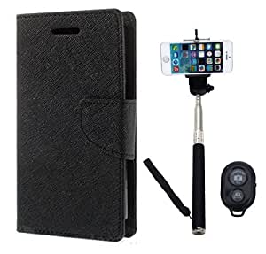 Aart Fancy Diary Card Wallet Flip Case Back Cover For Samsung A7 -(Black) + Remote Aux Wired Fashionable Selfie Stick Compatible for all Mobiles Phones By Aart Store