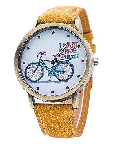 Unisex-Karikatur-beilufige-Uhr-Fahrrad-Leder-Quarz-Kleid-Armbanduhr-gelb