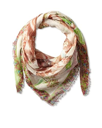 Tolani Women's Village Square Scarf, Lime